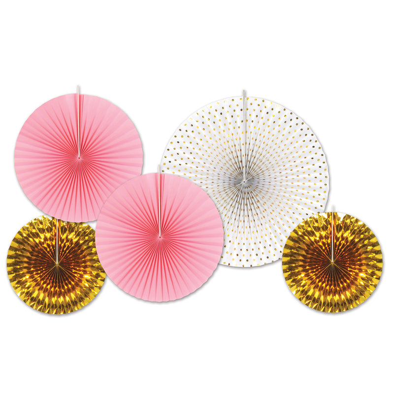 Paper & Foil Decorative Fans (5/Pkg), asstd gold & pink by Beistle - Wedding Theme Decorations