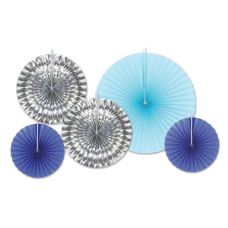 Paper & Foil Decorative Fans (5/Pkg), asstd blue & silver by Beistle - Winter and Christmas Theme Decorations