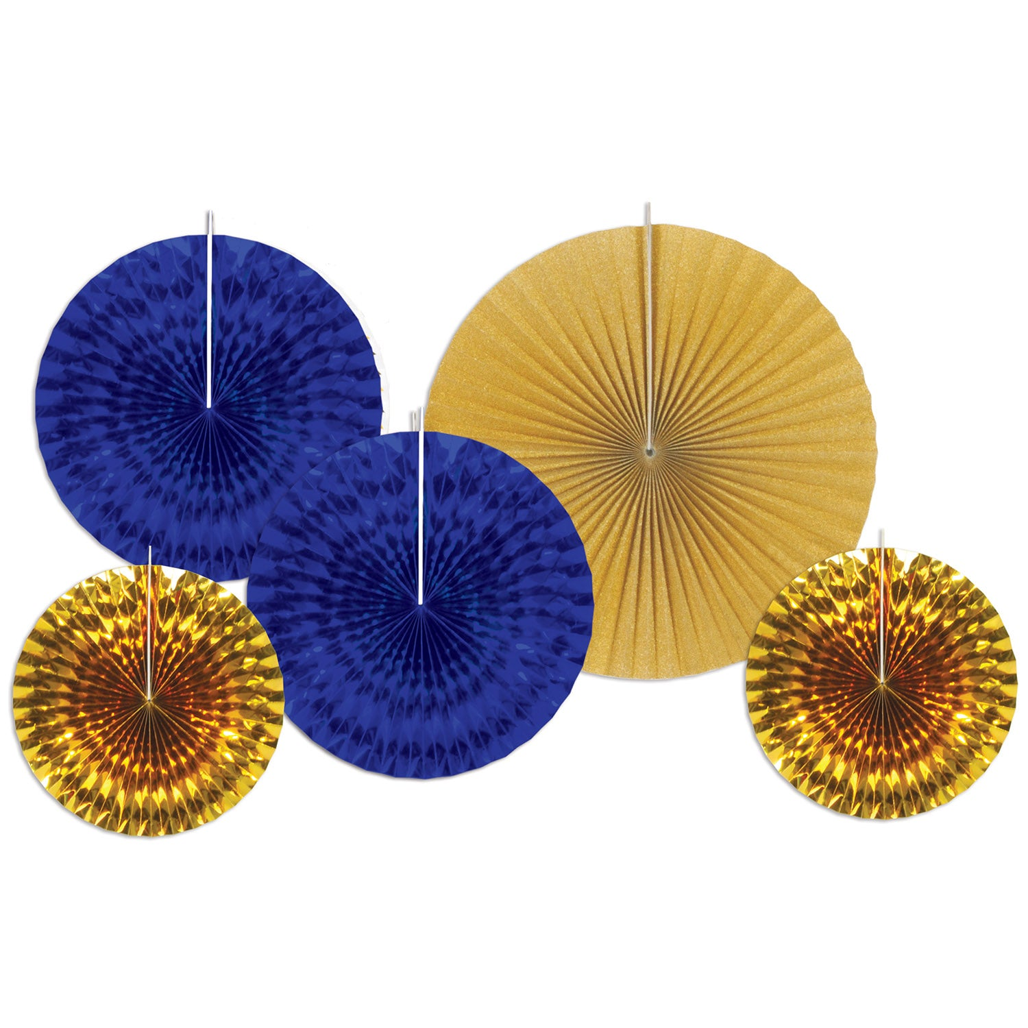 Assorted Paper & Foil Decorative Fans (5/Pkg), asstd blue & gold by Beistle - 21st Birthday Theme Decorations
