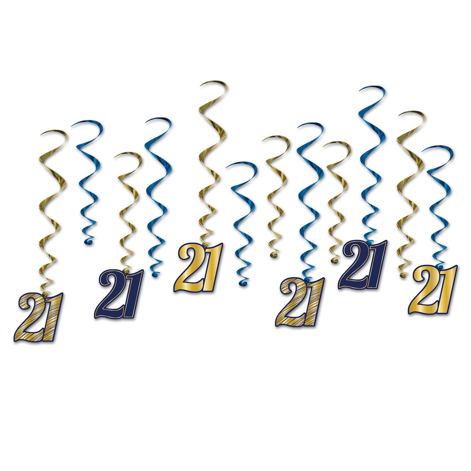 21 Whirls (12/Pkg) by Beistle - 21st Birthday Theme Decorations