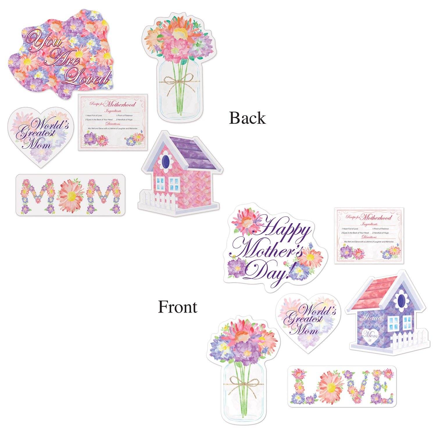 Mother's Day Cutouts (6/Pkg) by Beistle - Mother's Day Theme Decorations