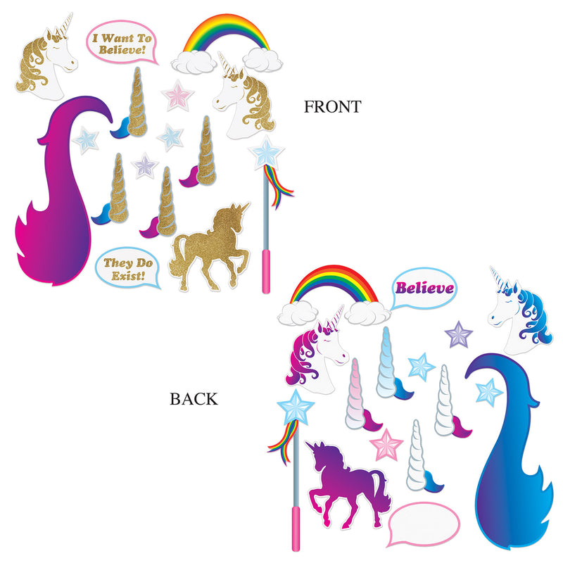 Unicorn Glittered Photo Fun Signs (16/Pkg) by Beistle - Unicorn Theme Decorations