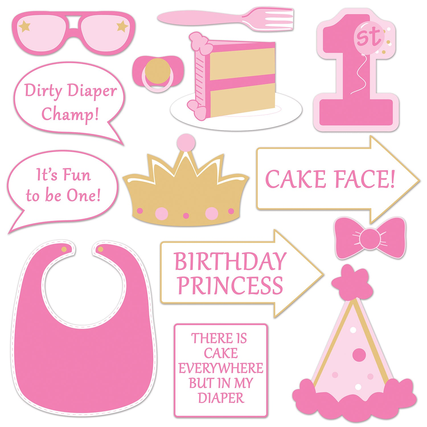 1st Birthday Photo Fun Signs (14/Pkg) by Beistle - 1st Birthday Party Decorations