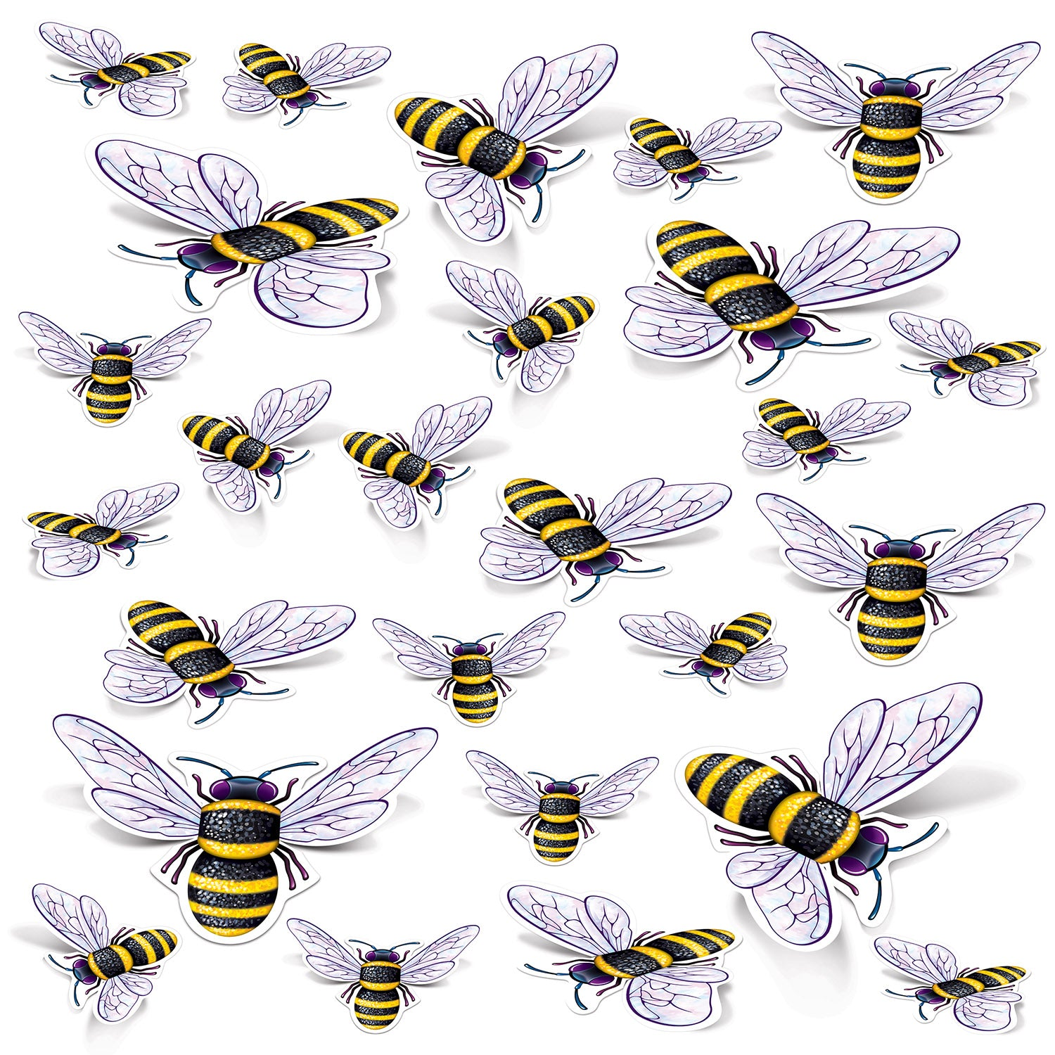 Bee Cutouts (26/Pkg) by Beistle - Spring/Summer Theme Decorations