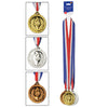 Gold, Silver & Bronze Medals w/Ribbon (3/Card) by Beistle - Sports Theme Decorations