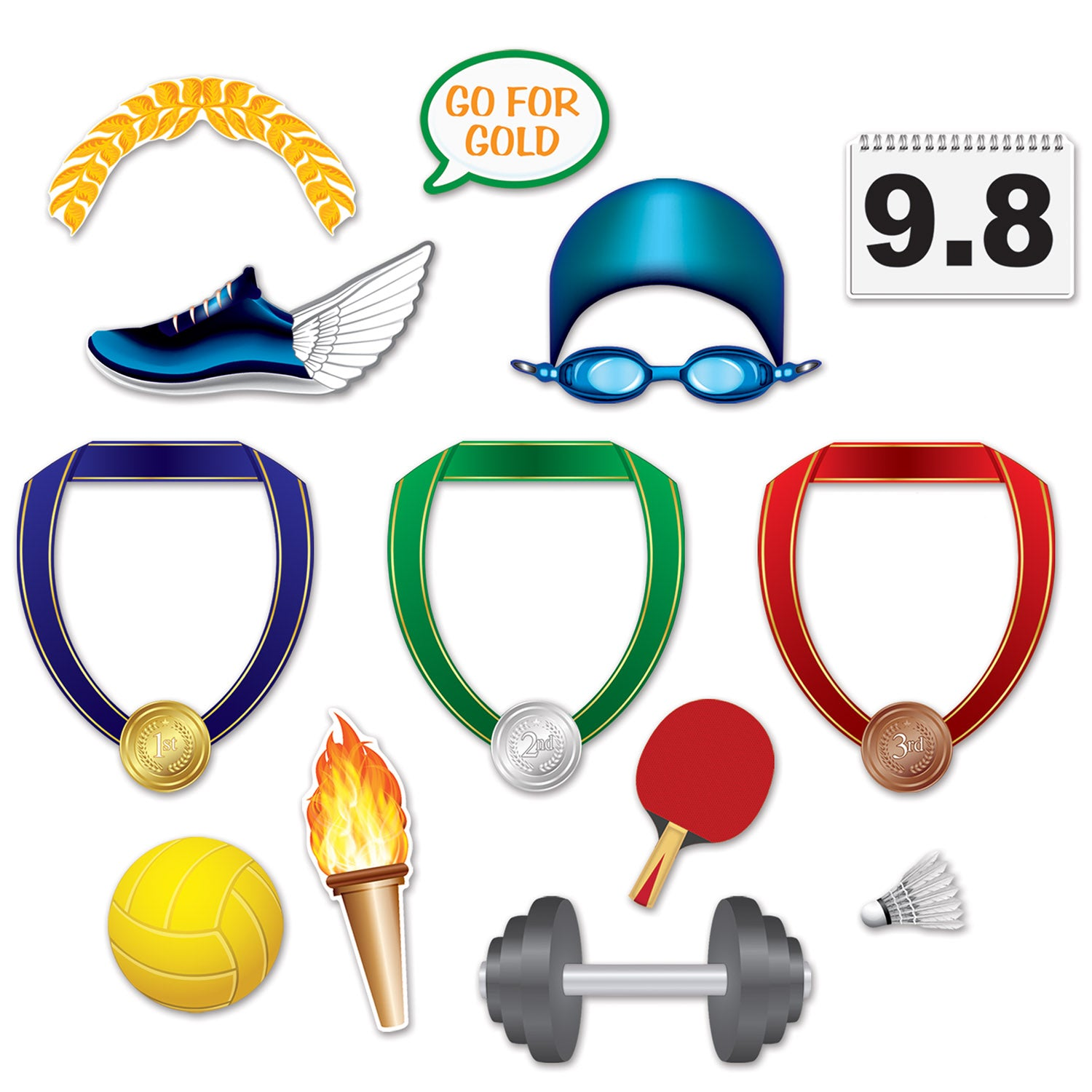 Summer Sports Photo Fun Signs (13/Pkg) by Beistle - Sports Theme Decorations