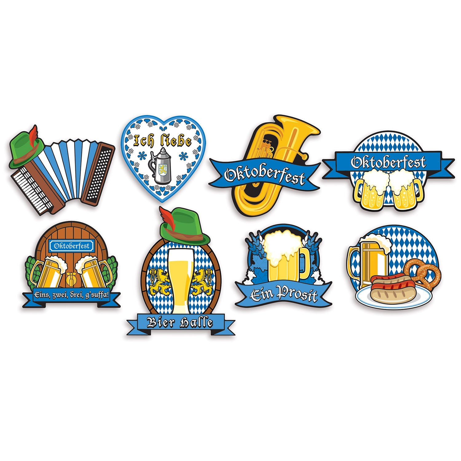 Oktoberfest Cutouts (8/Pkg) by Beistle - Oktoberfest Theme Decorations