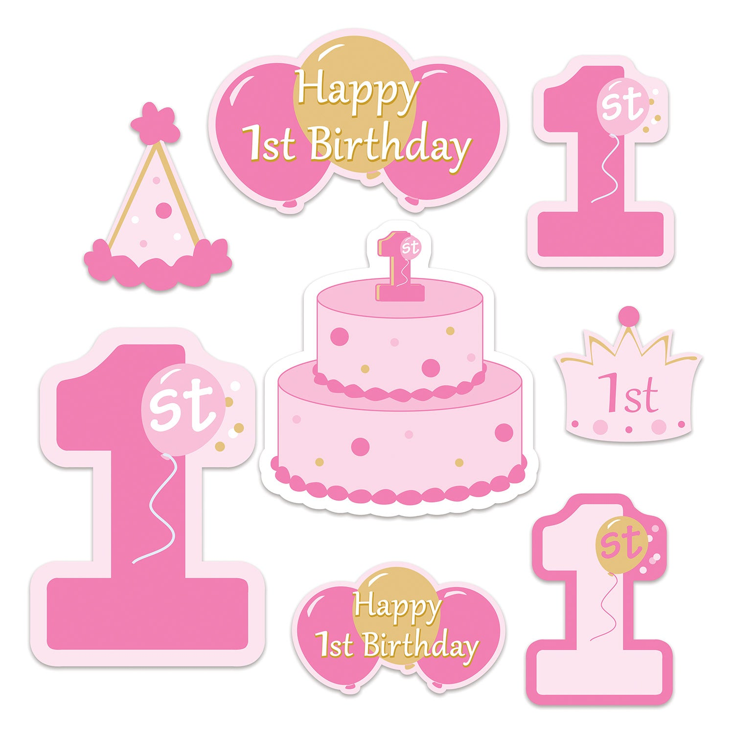 1st Birthday Cutouts (8/Pkg) by Beistle - 1st Birthday Party Decorations