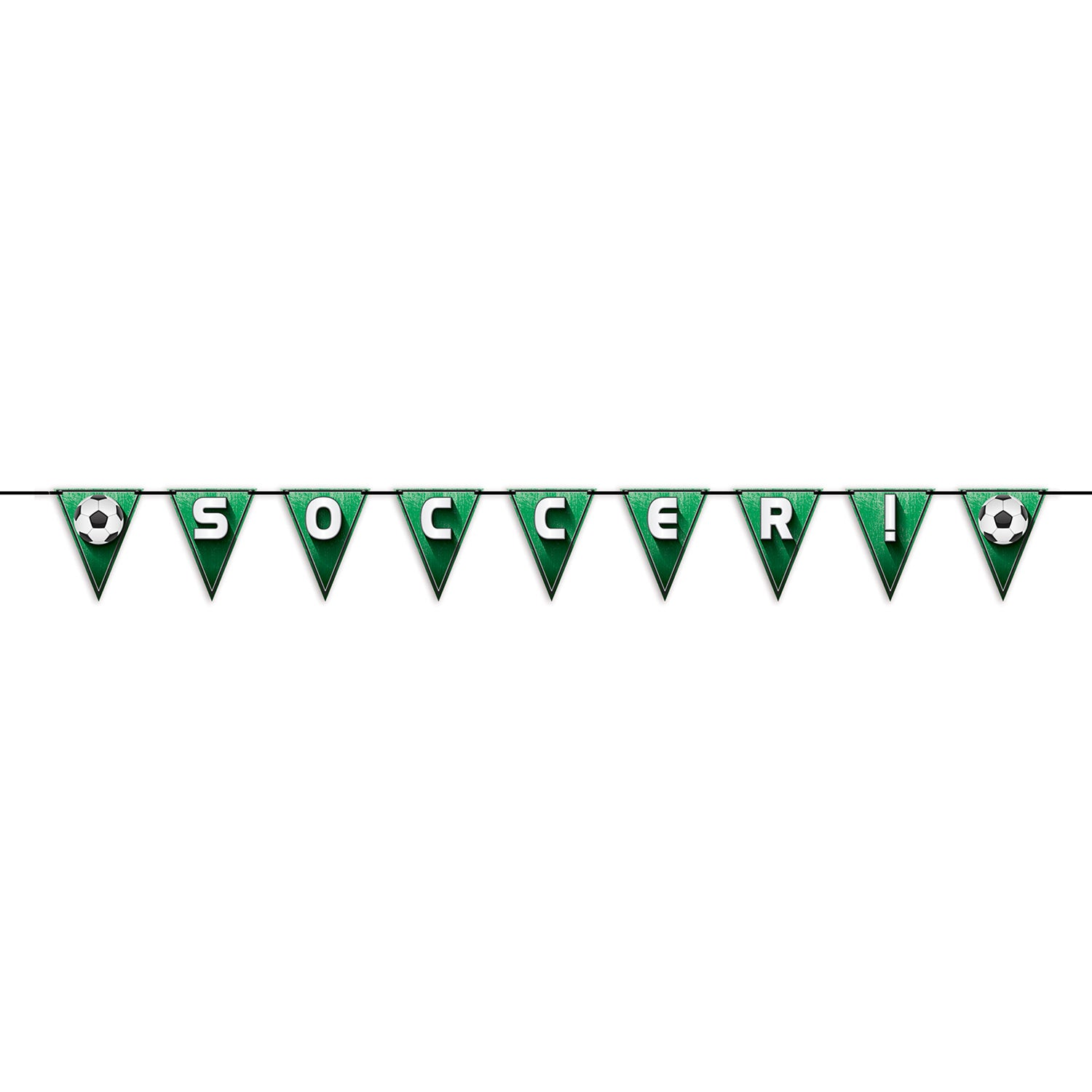 Soccer!/Football Pennant Streamer by Beistle - Soccer Theme Decorations