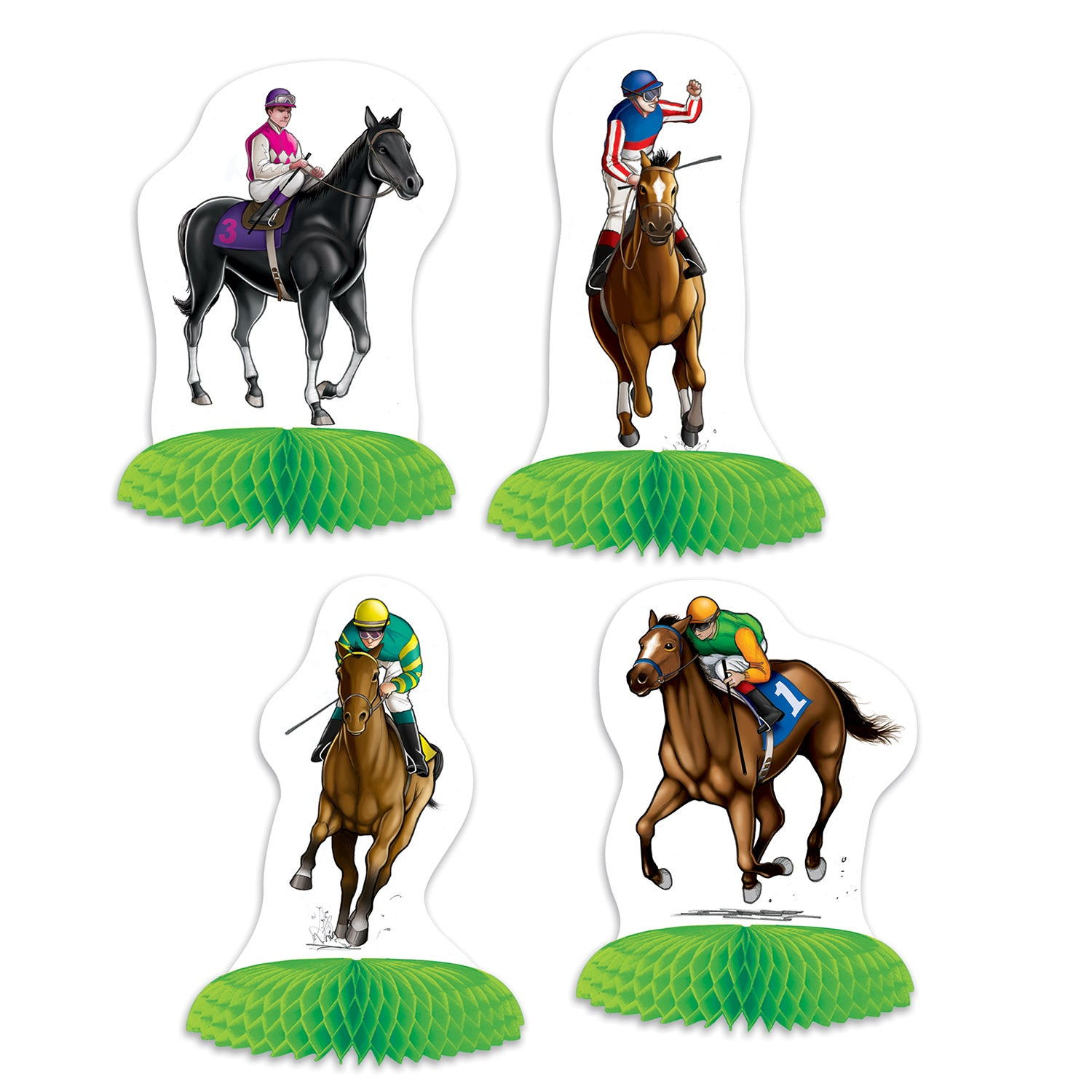 Horse Racing Mini Centerpieces (4/Pkg) by Beistle - Derby Day Theme Decorations