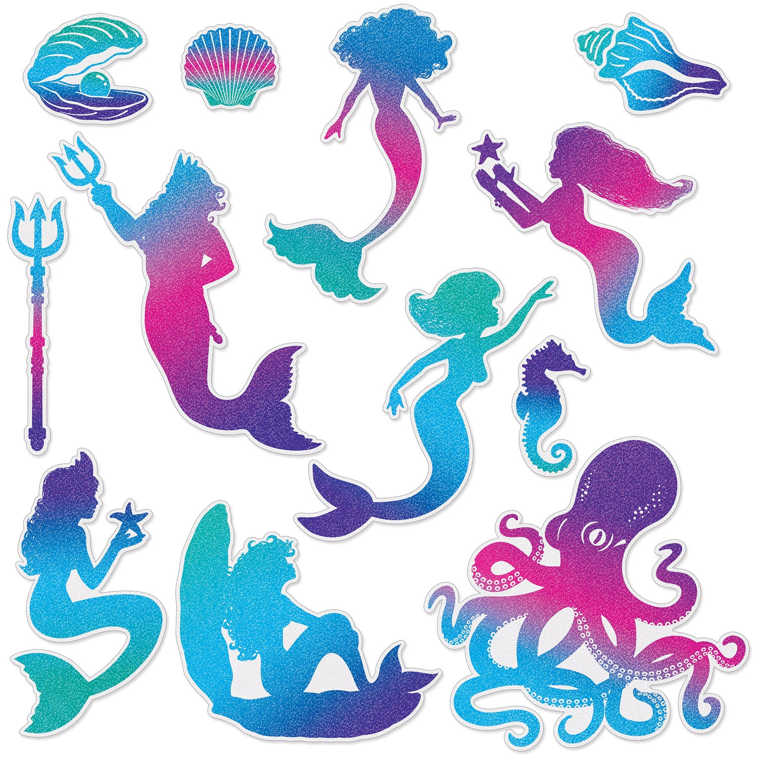 Mermaid Cutouts (12/Pkg) by Beistle - Mermaid Theme Decorations