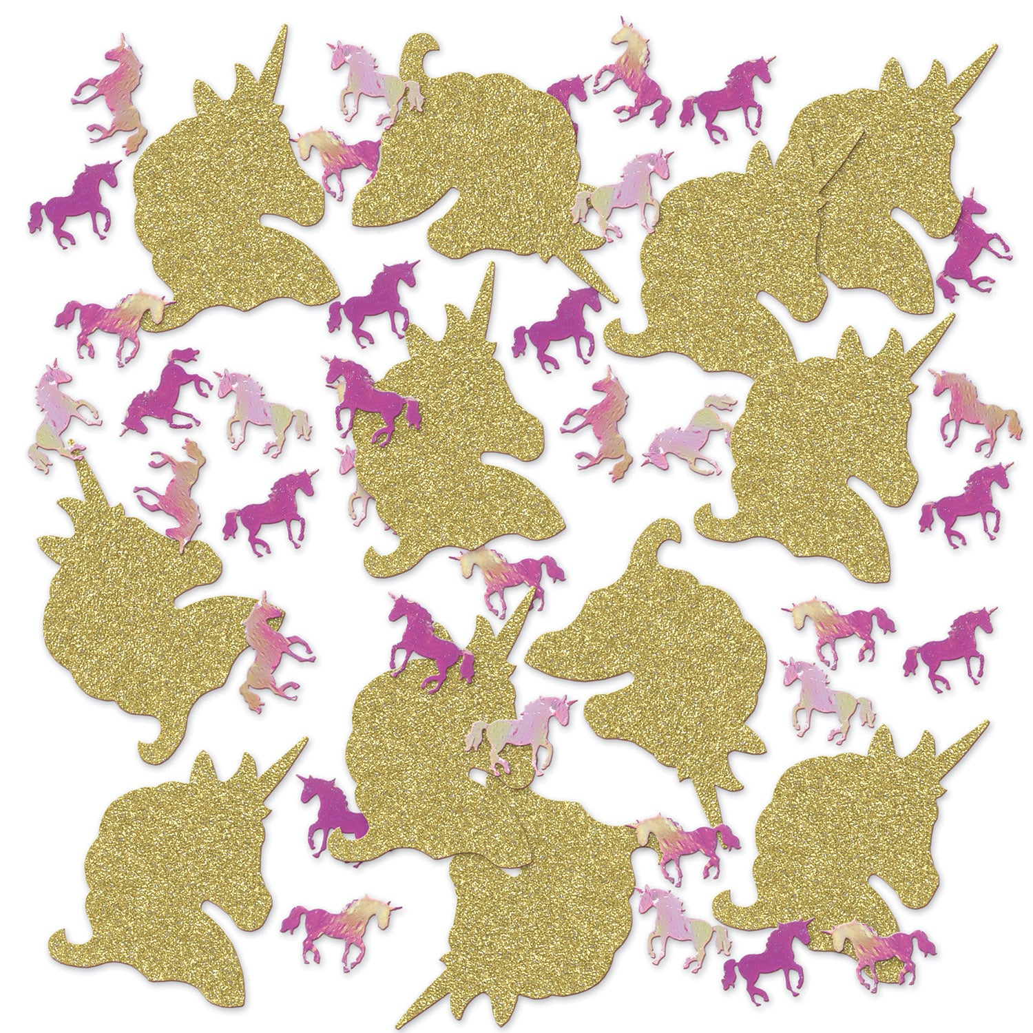 Unicorn Deluxe Sparkle Confetti (2 - .5 Oz Pkgs) by Beistle - Unicorn Theme Decorations