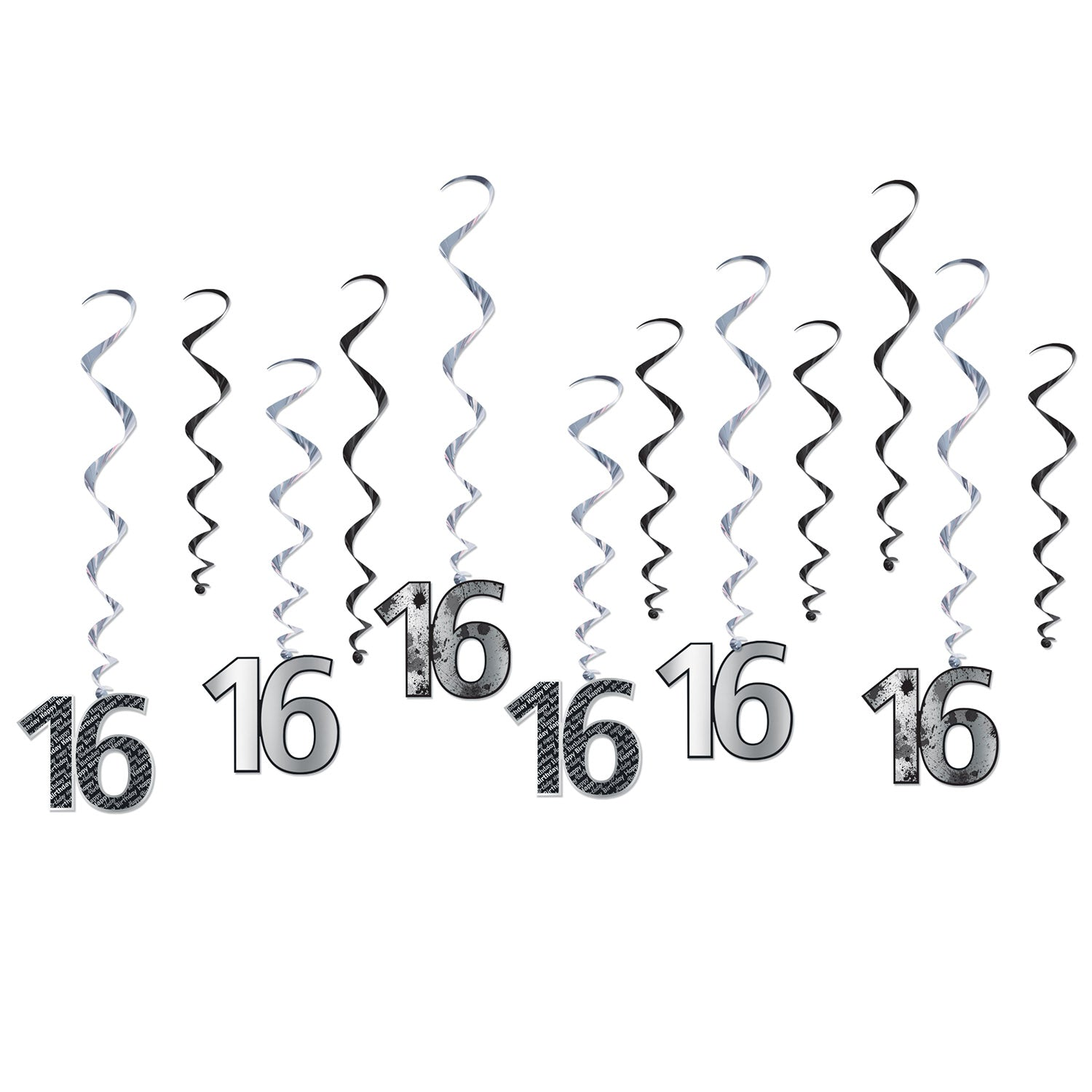 16 Whirls (12/Pkg) by Beistle - Sweet 16 Birthday Decorations