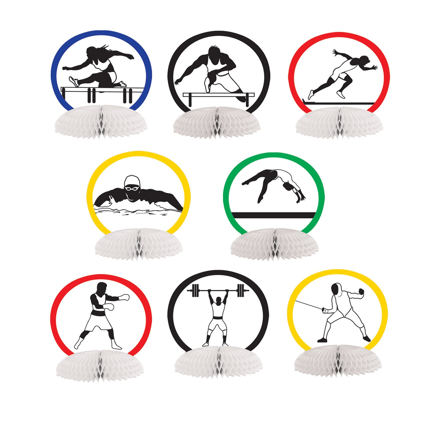 Summer Sports Mini Centerpieces (8/Pkg) by Beistle - Sports Theme Decorations
