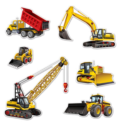 Construction Equipment Cutouts (6/Pkg) by Beistle - Construction Theme Decorations