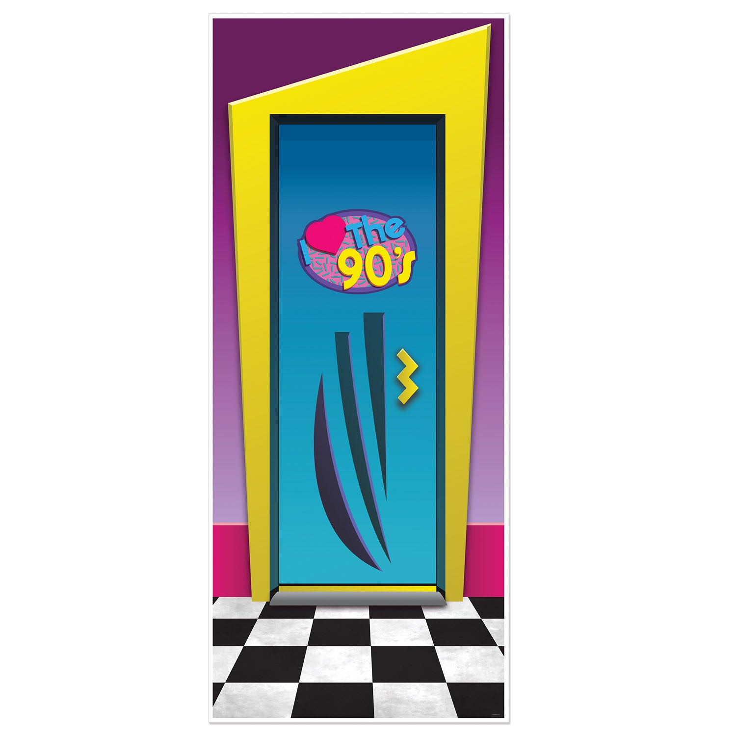 I Love The 90's Door Cover by Beistle - 90's Theme Decorations