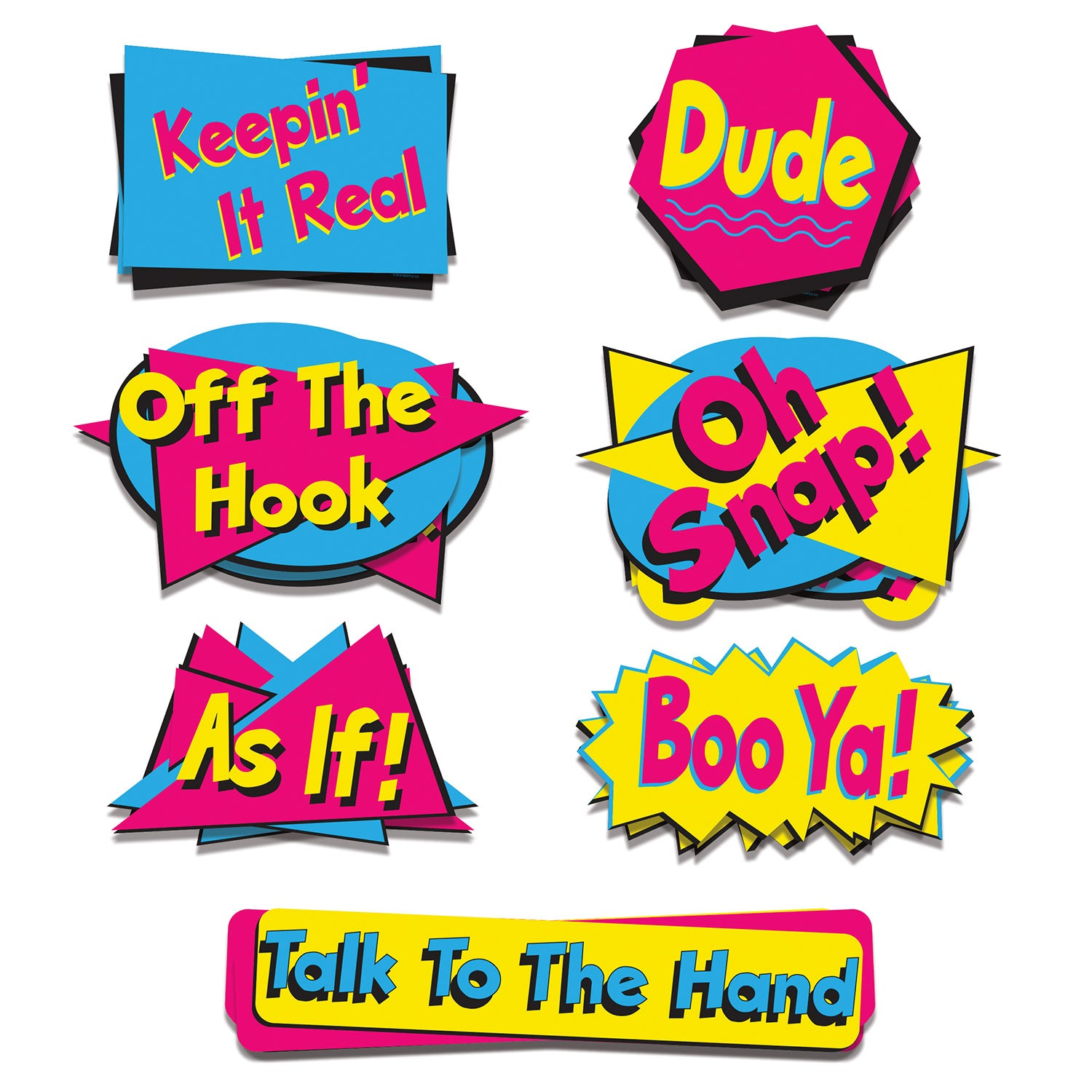 90's Phrase Cutouts (7/Pkg) by Beistle - 90's Theme Decorations