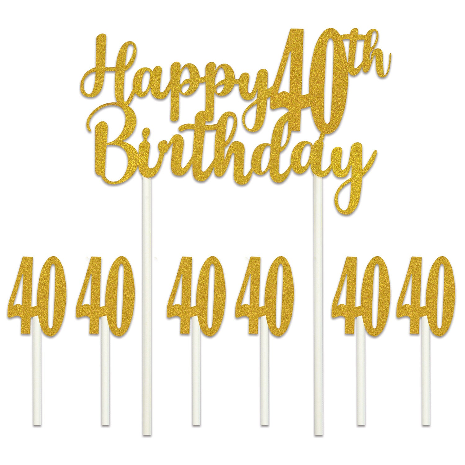 Happy 40th Birthday Cake Topper by Beistle - 40th Birthday Party Decorations