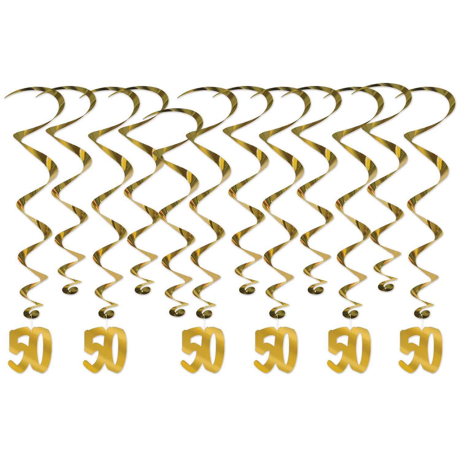 50th Anniversary Whirls (12/Pkg) by Beistle - Anniversary Theme Decorations