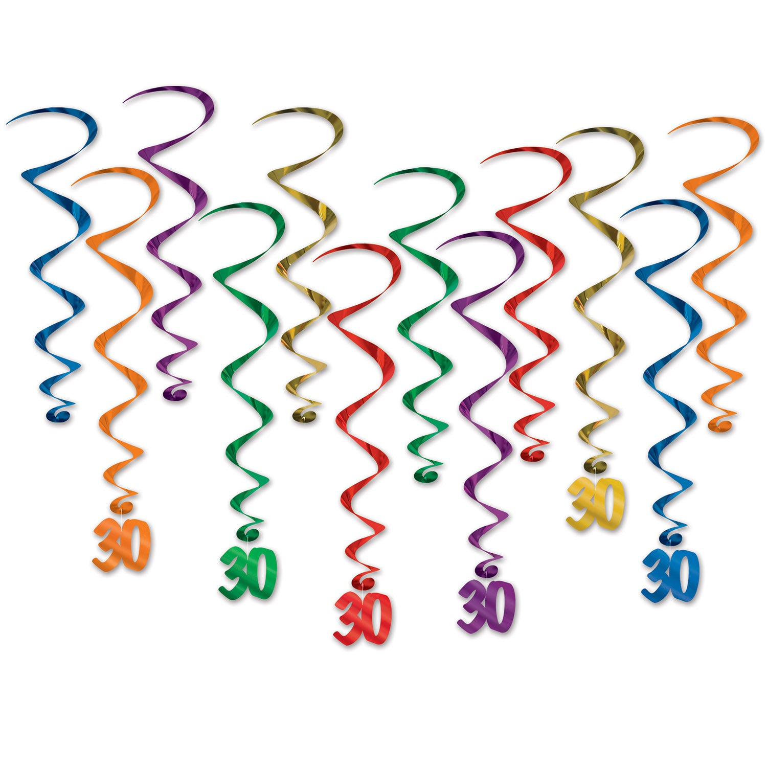 30 Whirls (12/Pkg) by Beistle - 30th Birthday Party Decorations