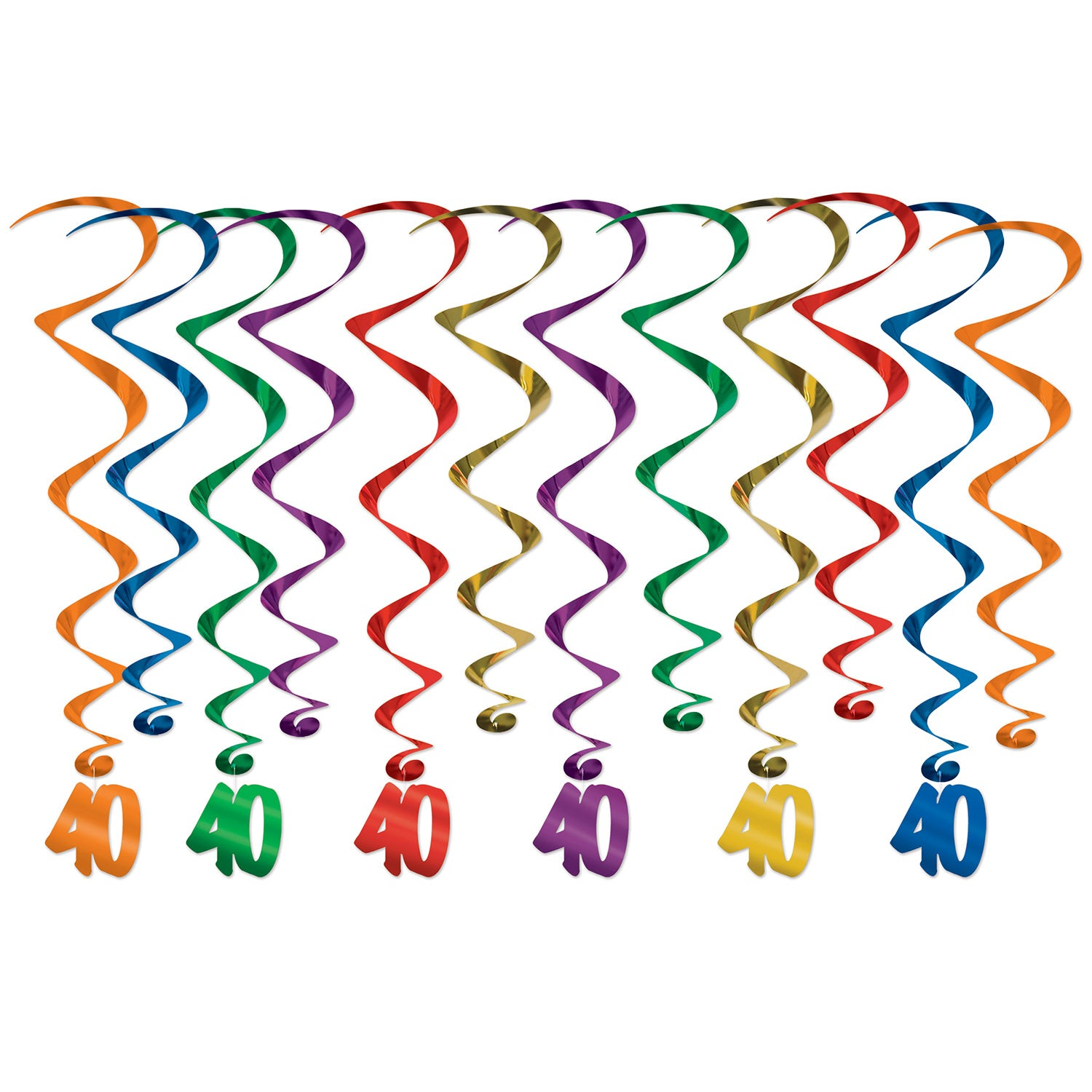 40 Whirls (12/Pkg) by Beistle - 40th Birthday Party Decorations