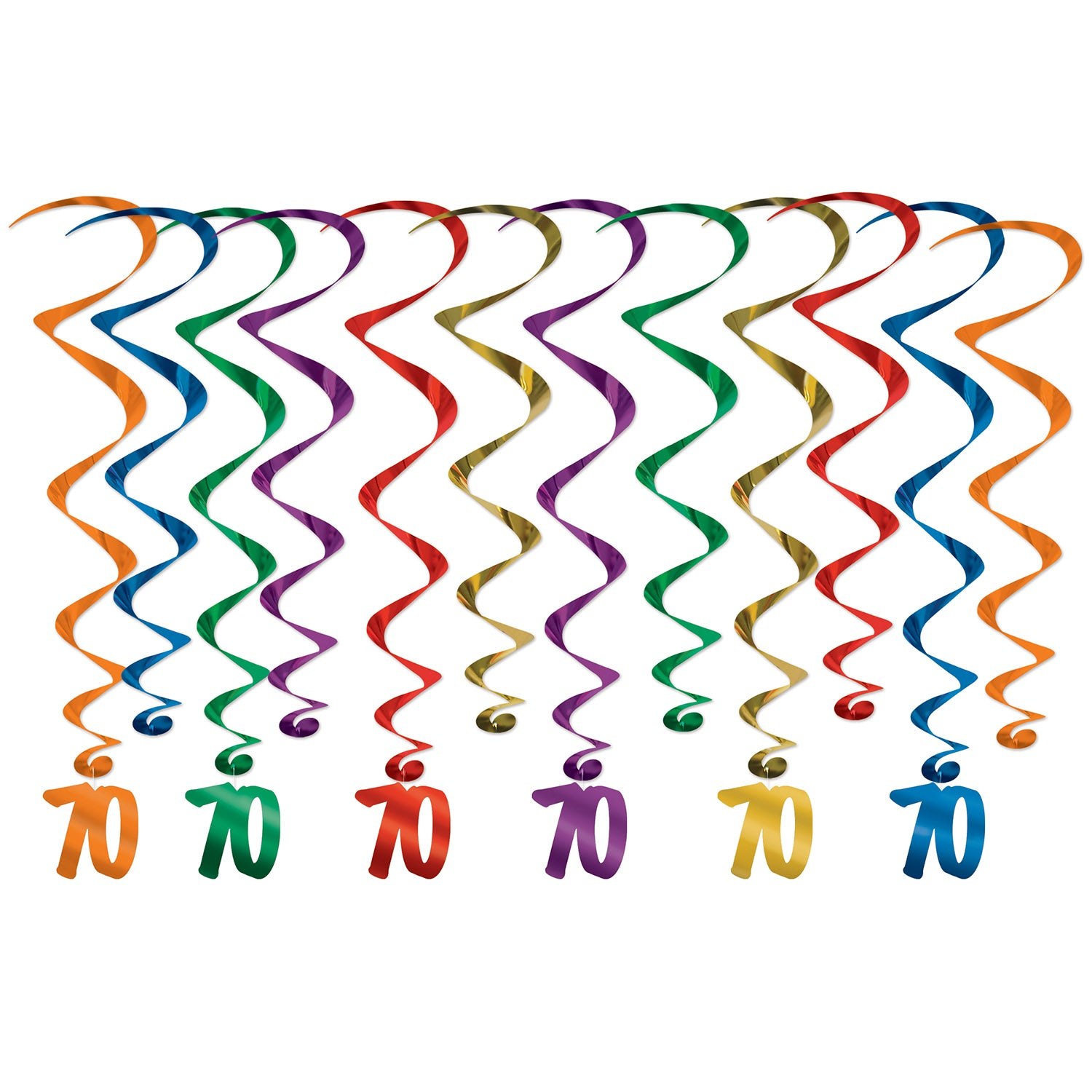 70 Whirls (12/Pkg) by Beistle - 70th Birthday Party Decorations