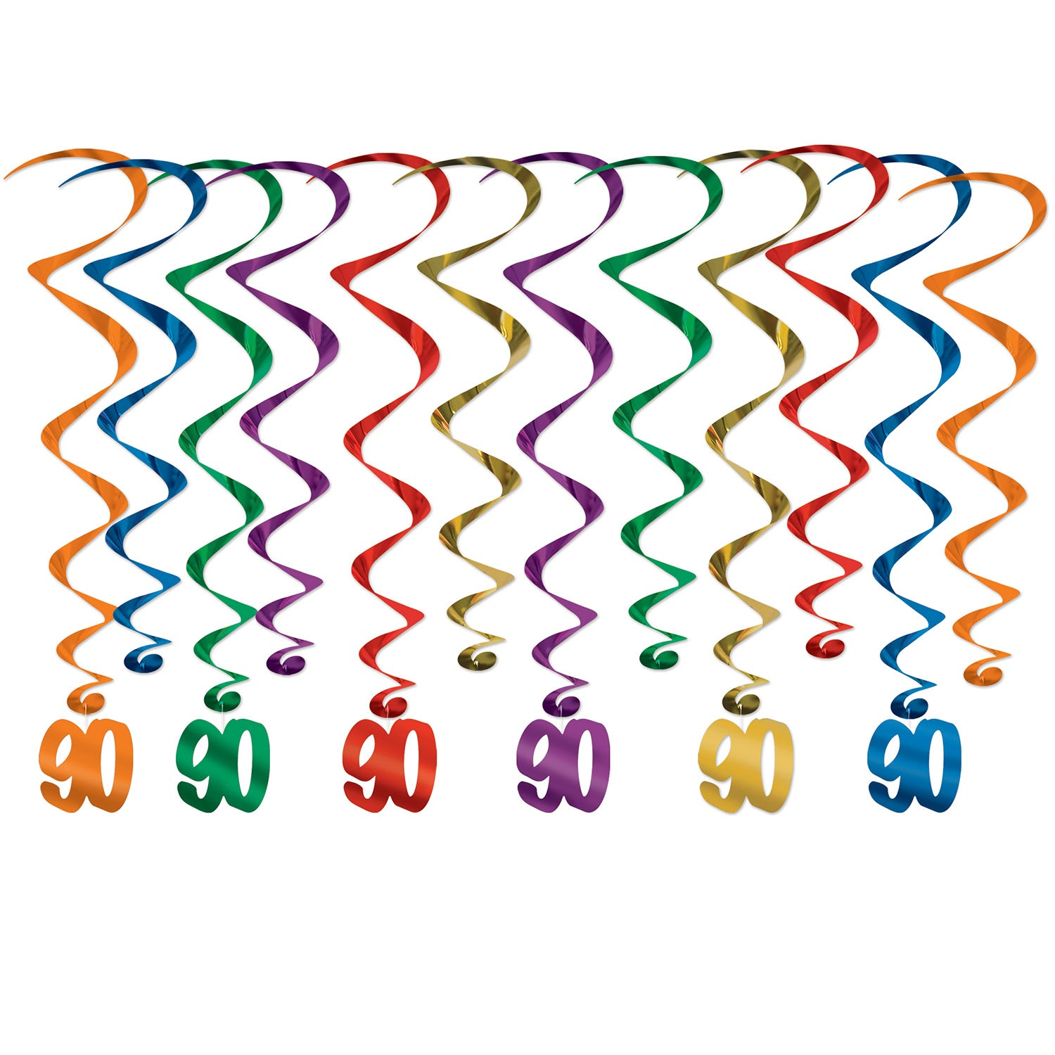 90 Whirls (12/Pkg) by Beistle - 90th Birthday Party Decorations