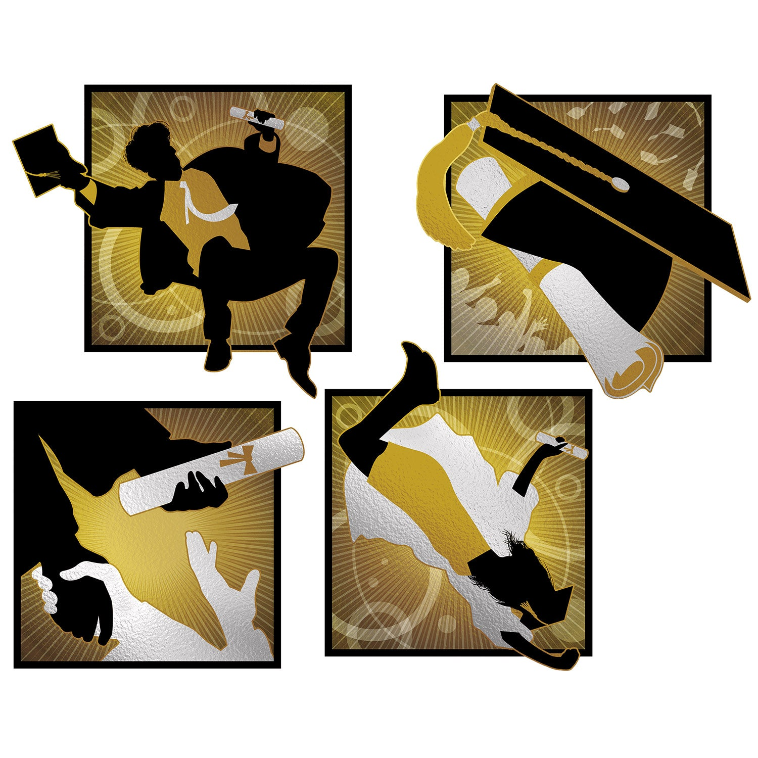 Foil Graduation Cutouts (4/Pkg) by Beistle - Graduation Theme Decorations