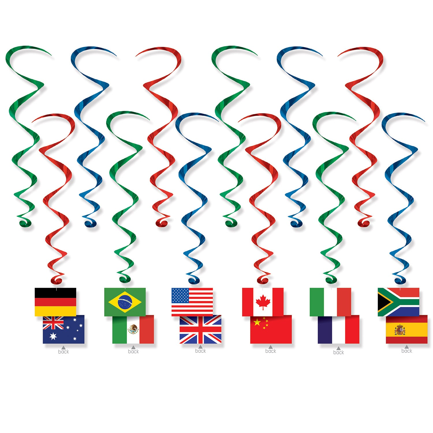 International Flag Whirls (12/Pkg) by Beistle - International Theme Decorations