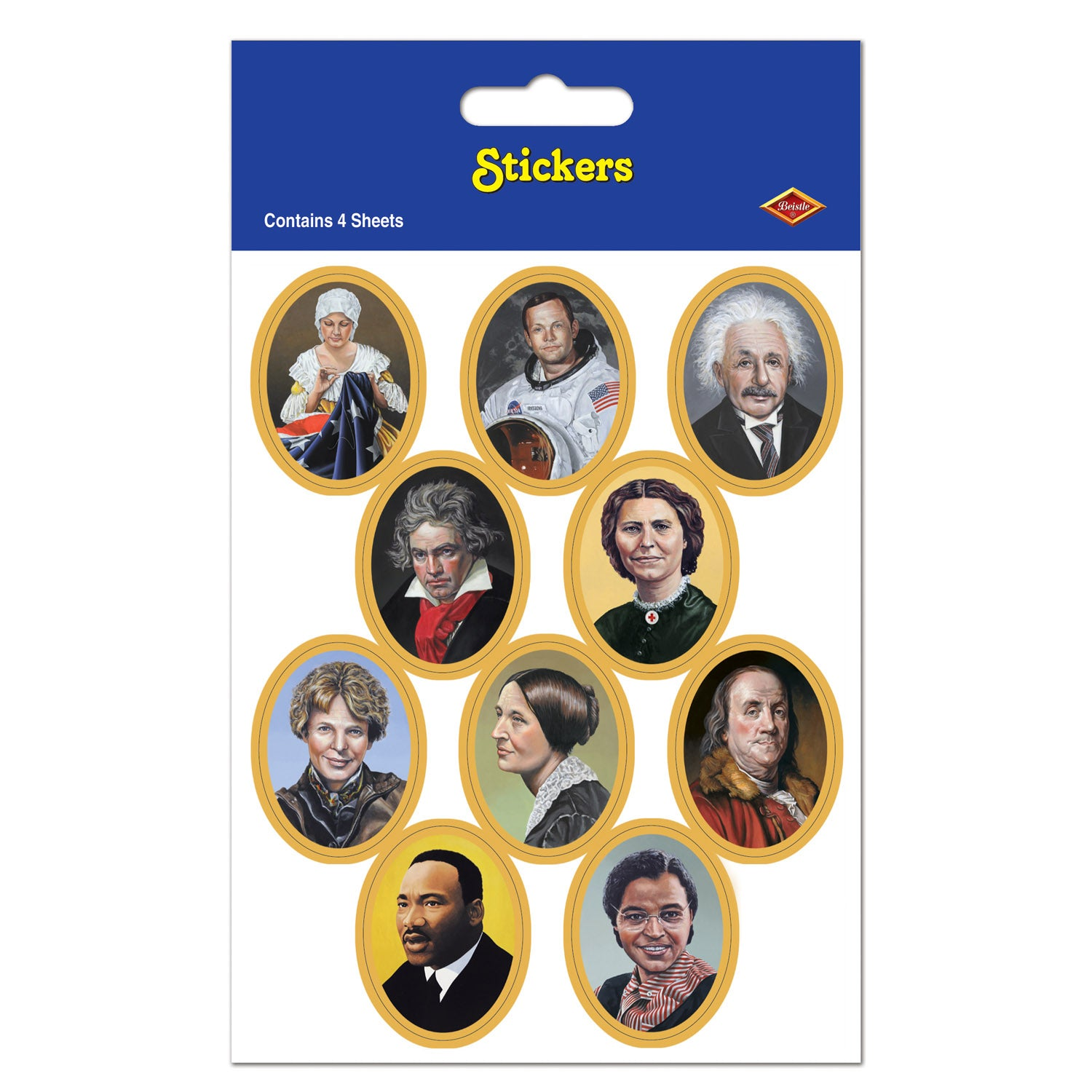 Faces In History Stickers (4 Shs/Pkg) by Beistle - School Awards and Supplies Decorations