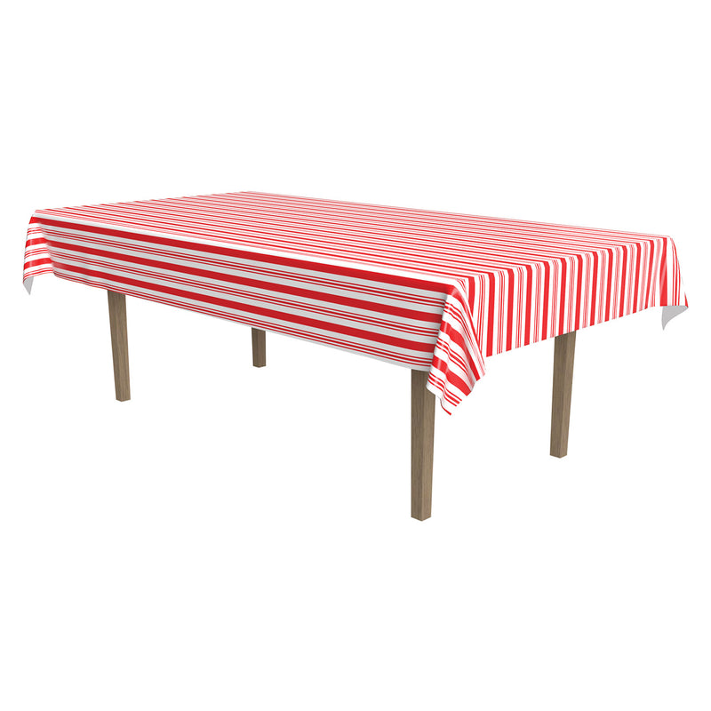 Striped Tablecover, plastic by Beistle - Circus Theme Decorations