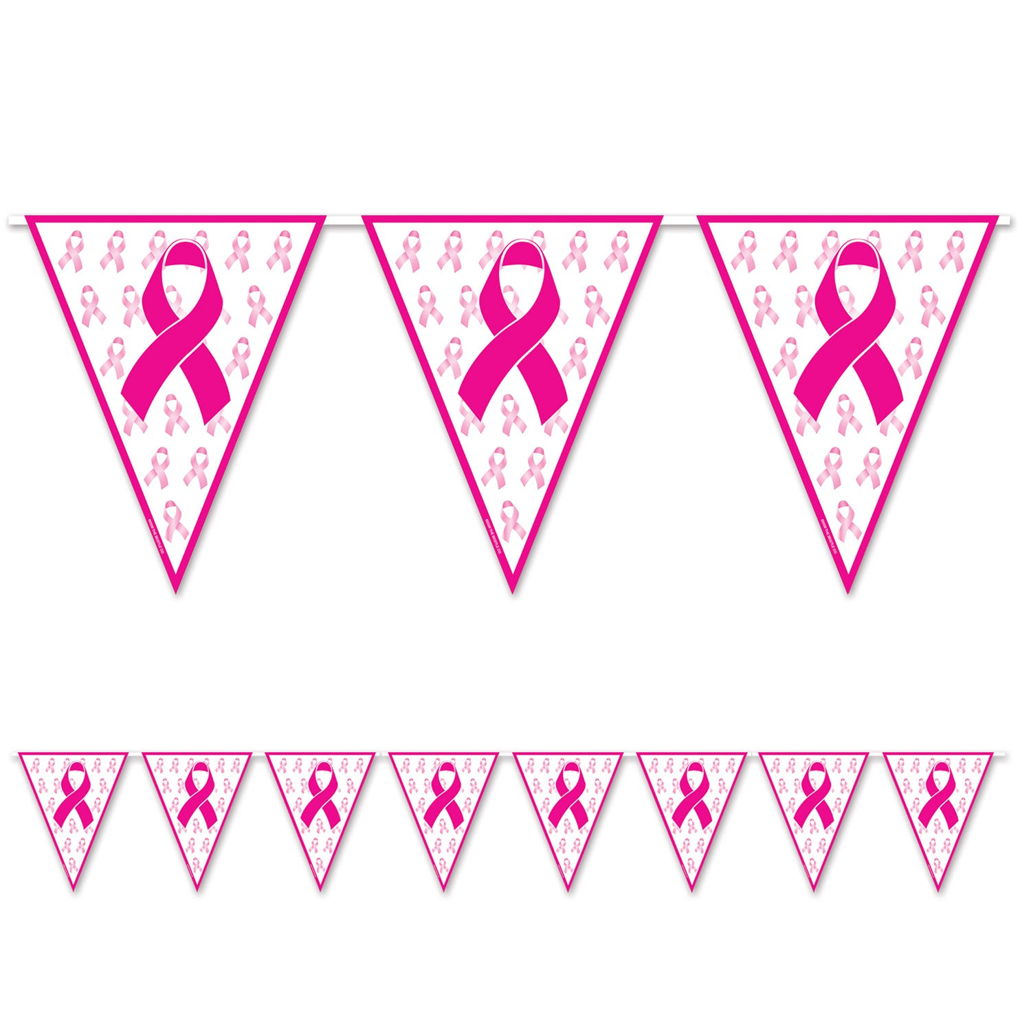 Pink Ribbon Pennant Banner by Beistle - Pink Ribbon Theme Decorations