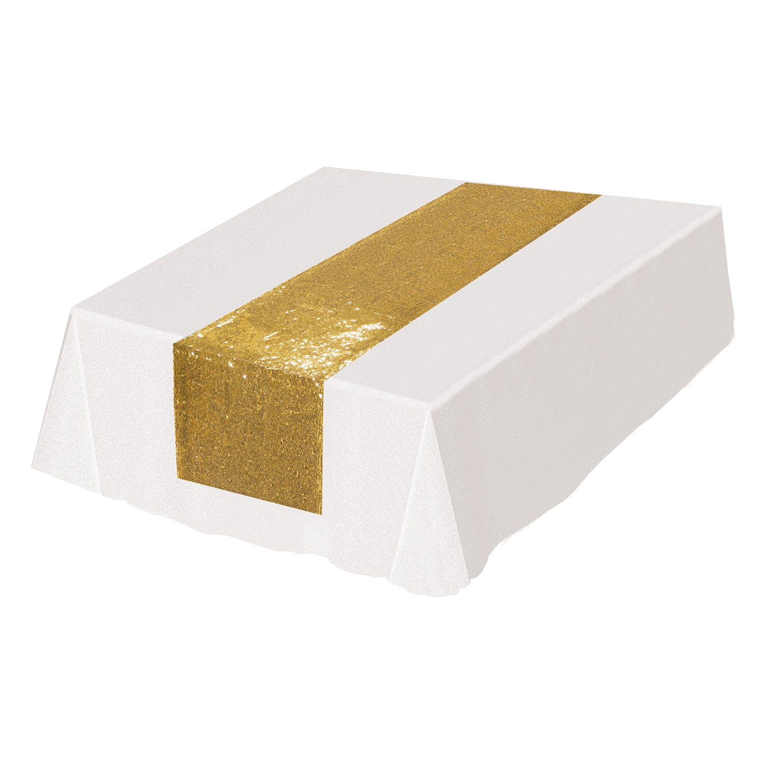 Sequined Table Runner, gold by Beistle - Wedding Theme Decorations