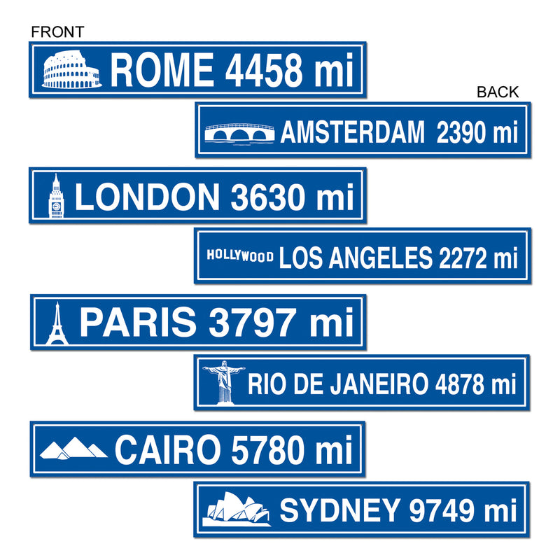 Travel Street Sign Cutouts (4/Pkg) by Beistle - International Theme Decorations