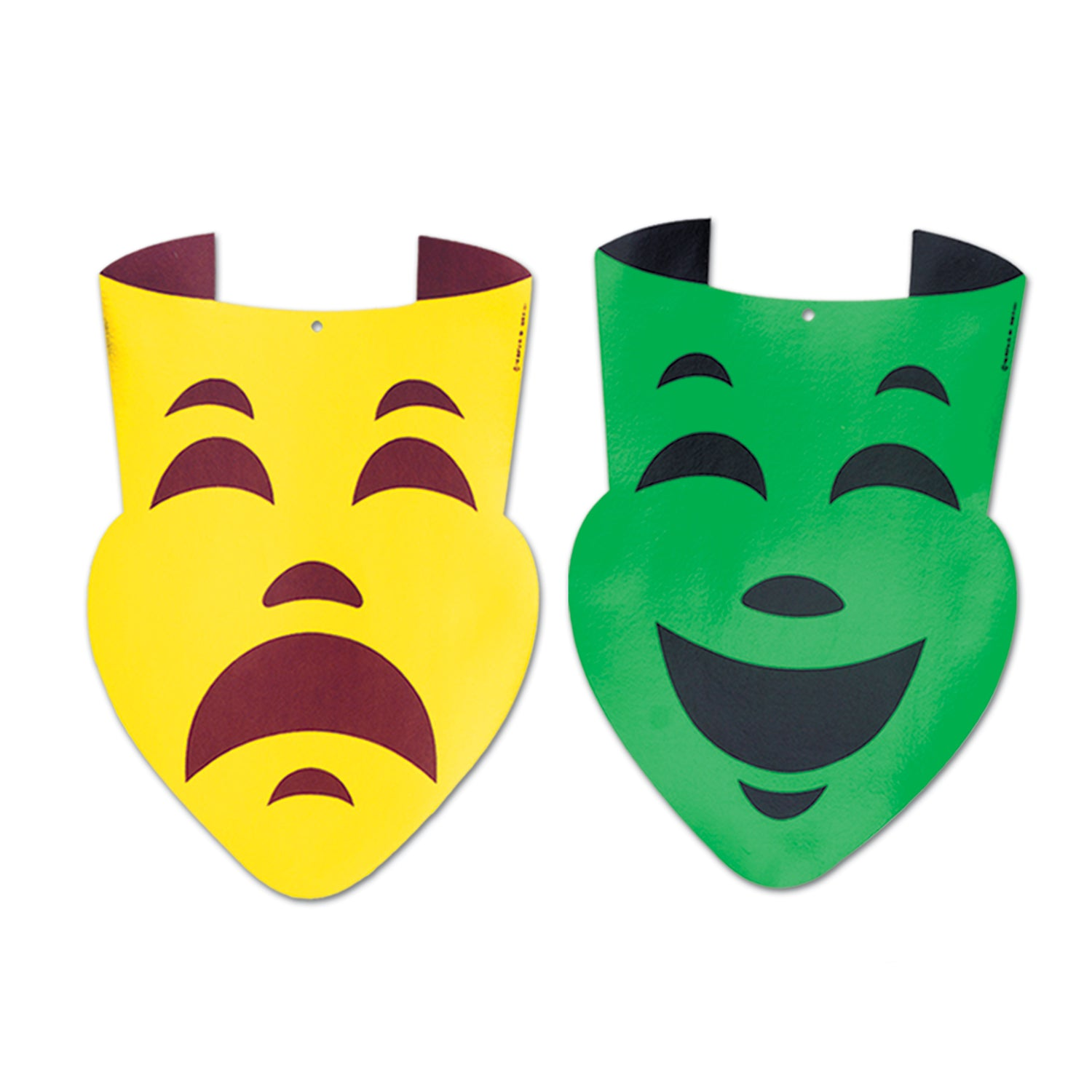 Packaged Foil Comedy & Tragedy Face Cutouts (2/Pkg) by Beistle - Mardi Gras Theme Decorations