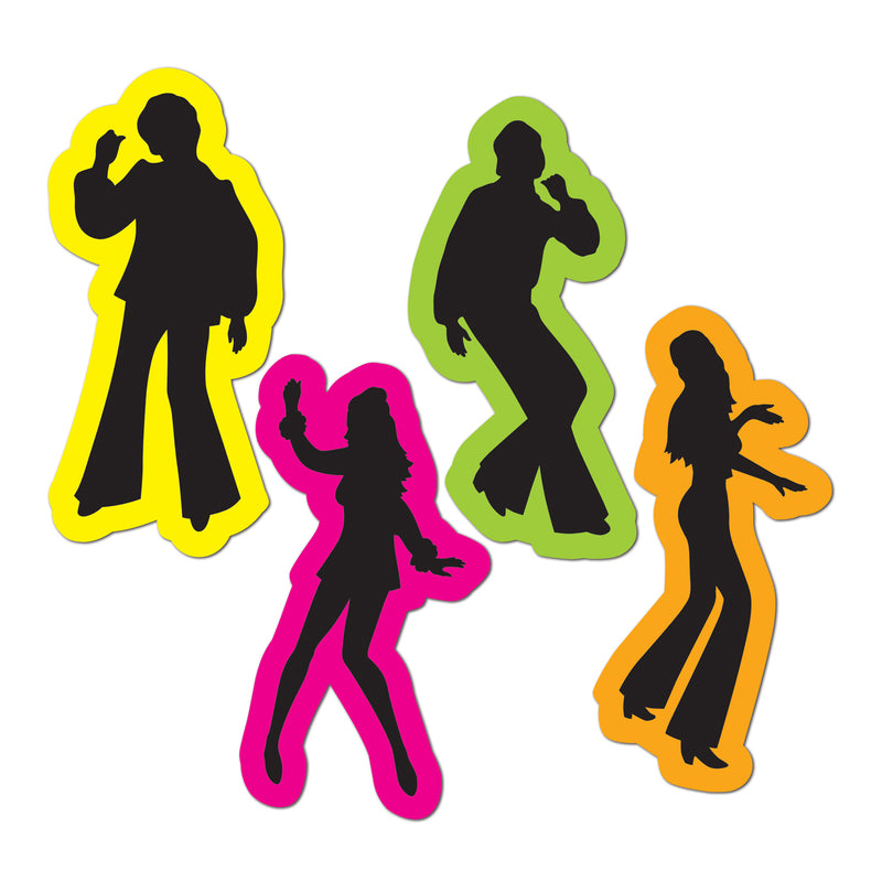 Retro 70's Silhouettes (4/Pkg) by Beistle - 70's Theme Decorations