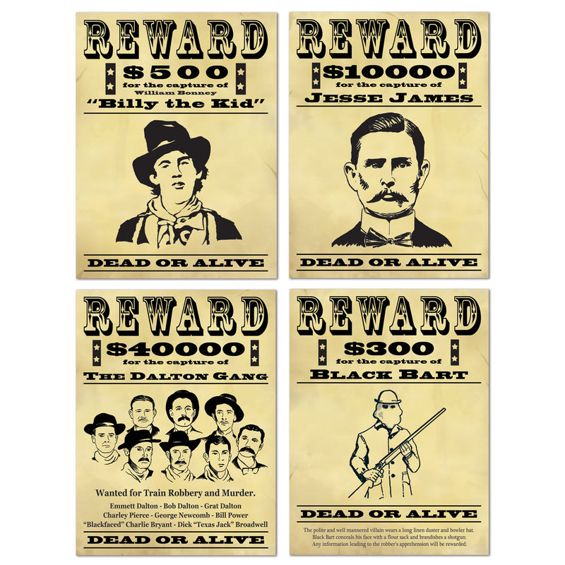 Wanted Sign Cutouts (4/Pkg) by Beistle - Western Theme Decorations