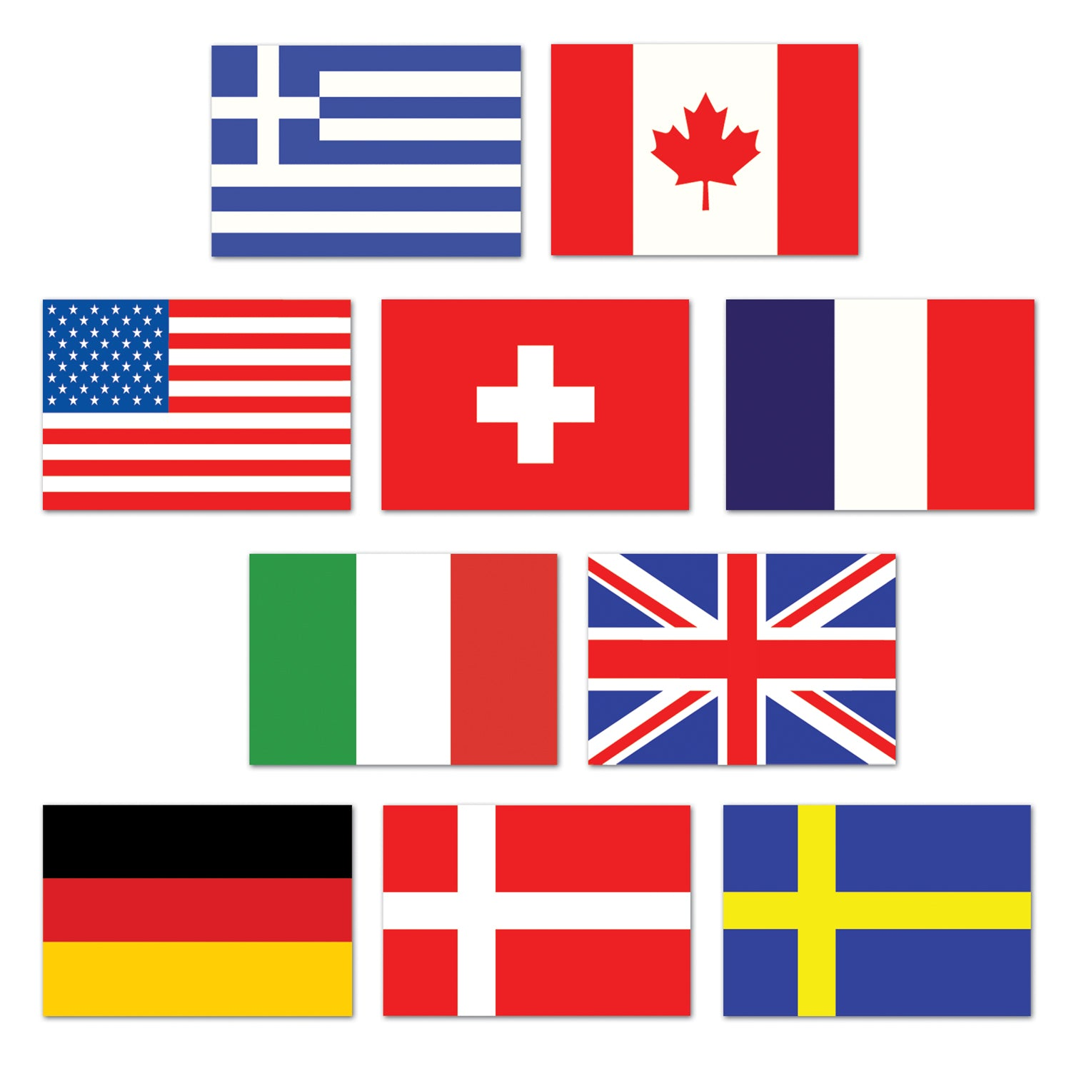 Mini International Flag Cutouts (10/Pkg) by Beistle - International Theme Decorations