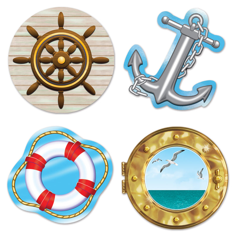 Nautical Cutouts (4/Pkg) by Beistle - Nautical Theme Decorations