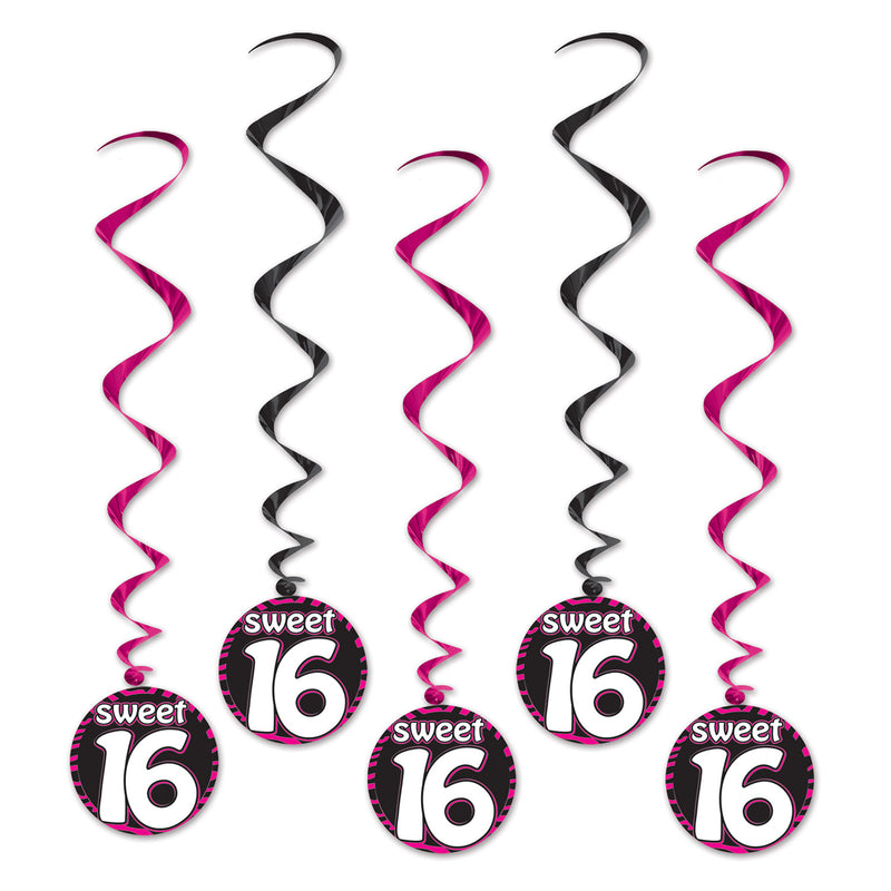 Sweet 16 Whirls (5/Pkg) by Beistle - Sweet 16 Birthday Decorations