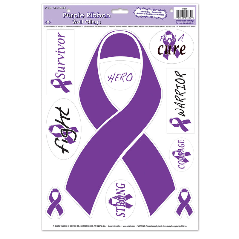 Purple Ribbon/Find A Cure Peel 'N Place (10/Sheet) by Beistle - Purple Ribbon Theme Decorations