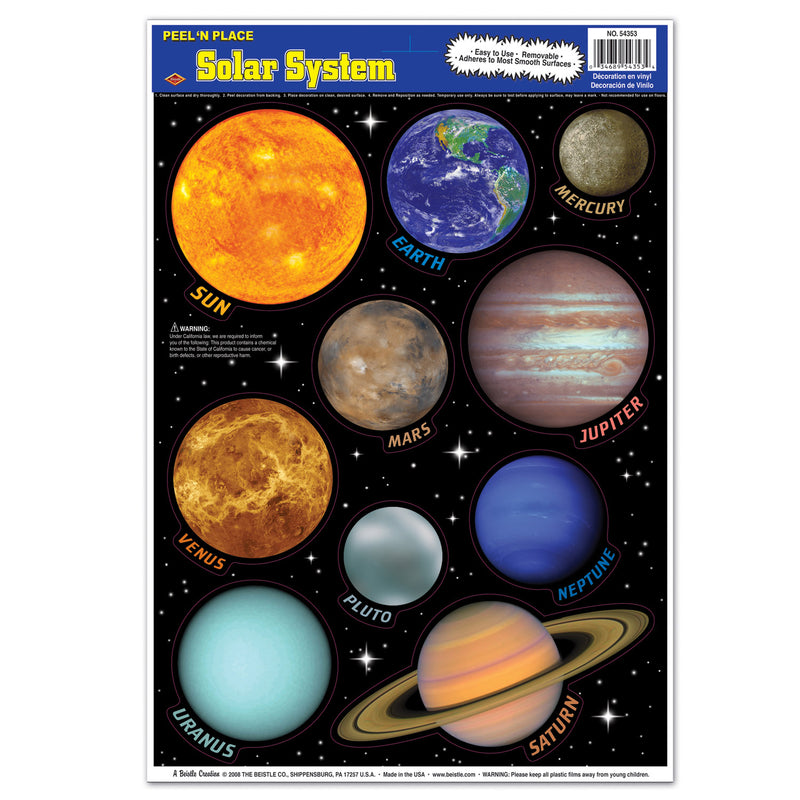 Solar System Peel 'N Place (10/Sheet) by Beistle - School Awards and Supplies Decorations