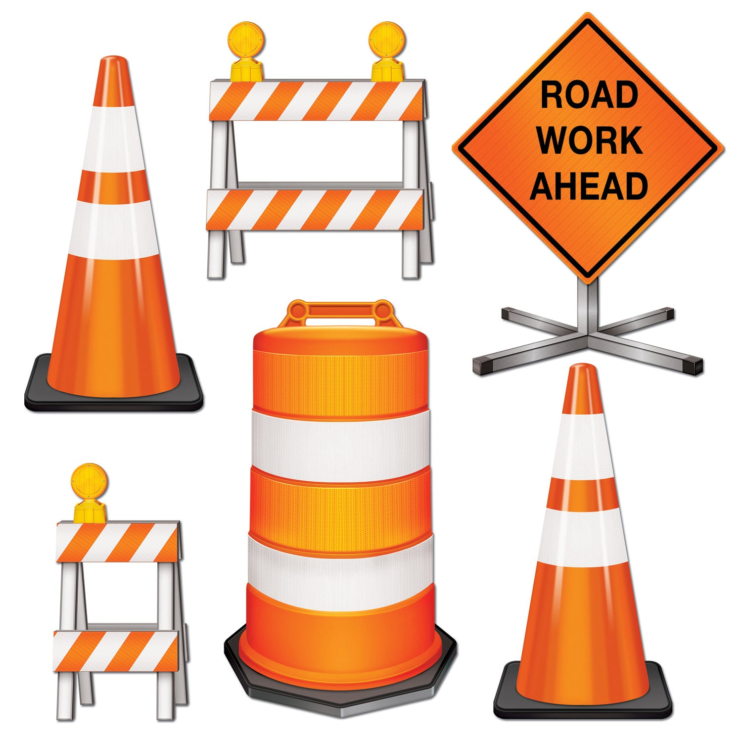 Road Crew Cutouts (6/Pkg) by Beistle - Construction Theme Decorations
