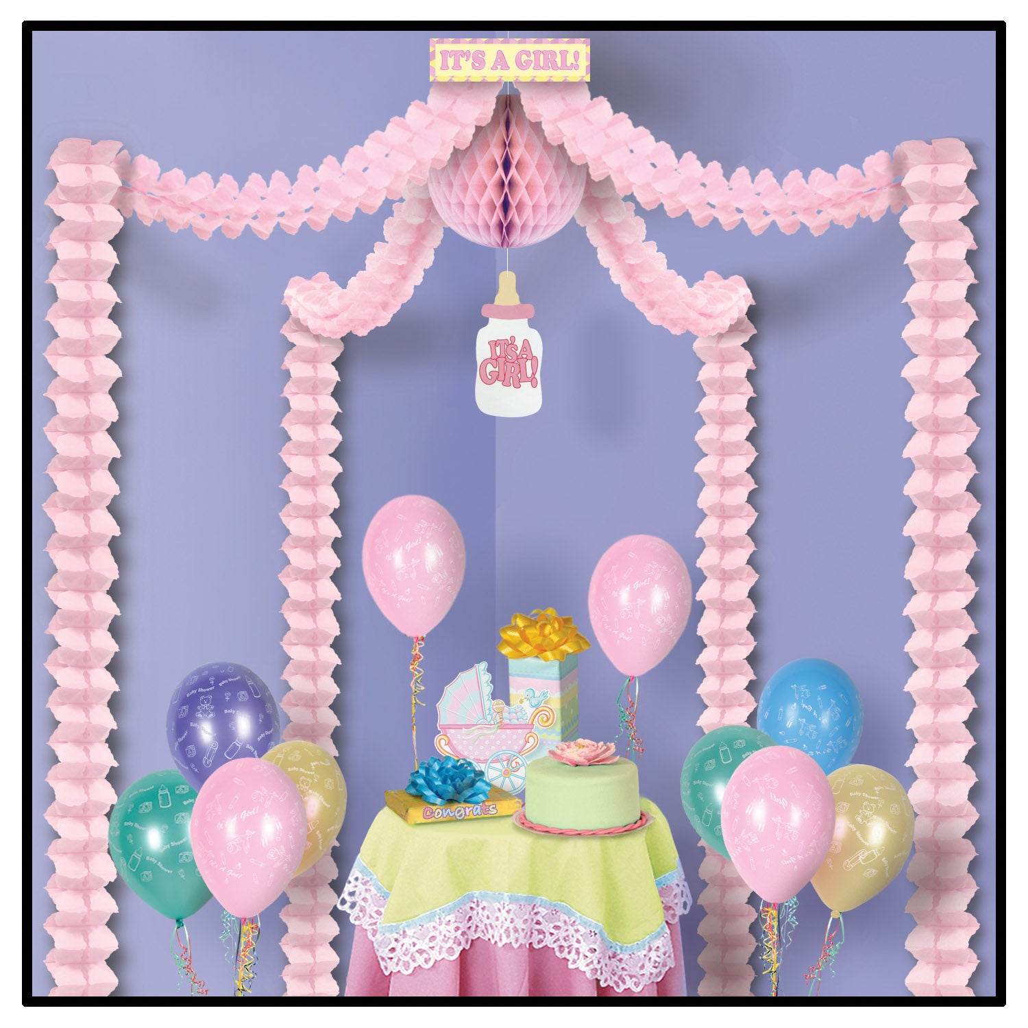 It's A Girl! Party Canopy by Beistle - Baby Shower Theme Decorations