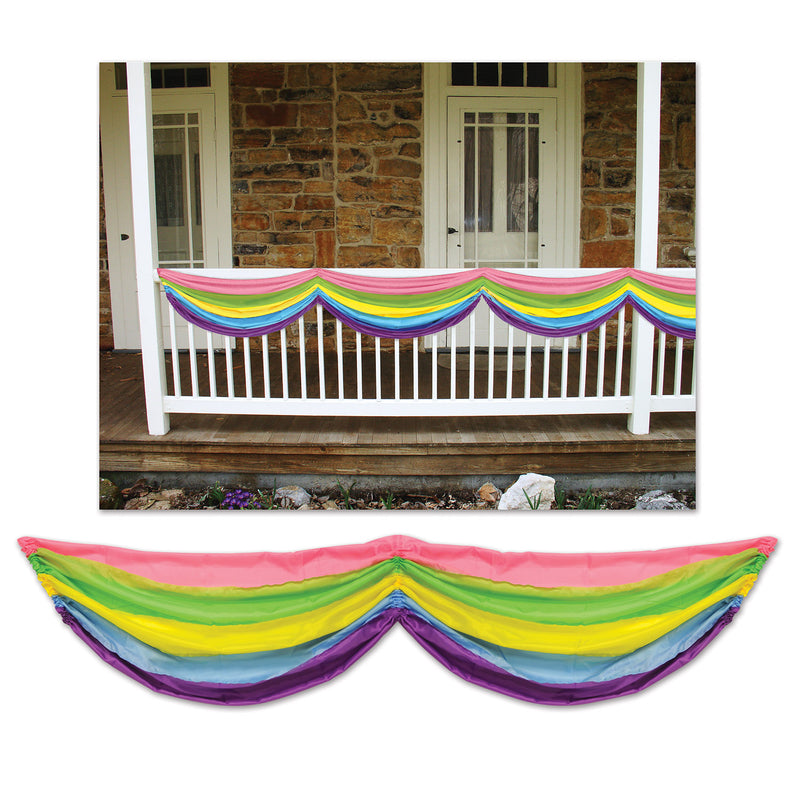 Spring Rainbow Fabric Bunting by Beistle - Spring/Summer Theme Decorations