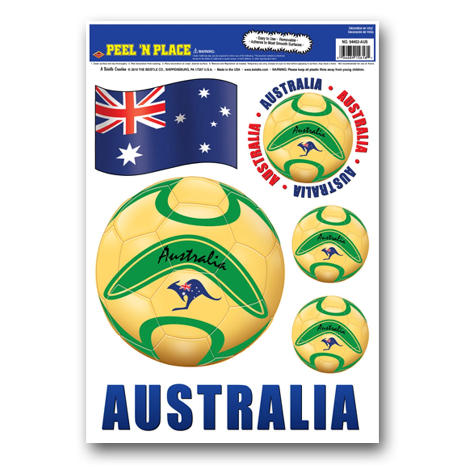Peel 'N Place - Australia (6/Sheet) by Beistle - Soccer Theme Decorations