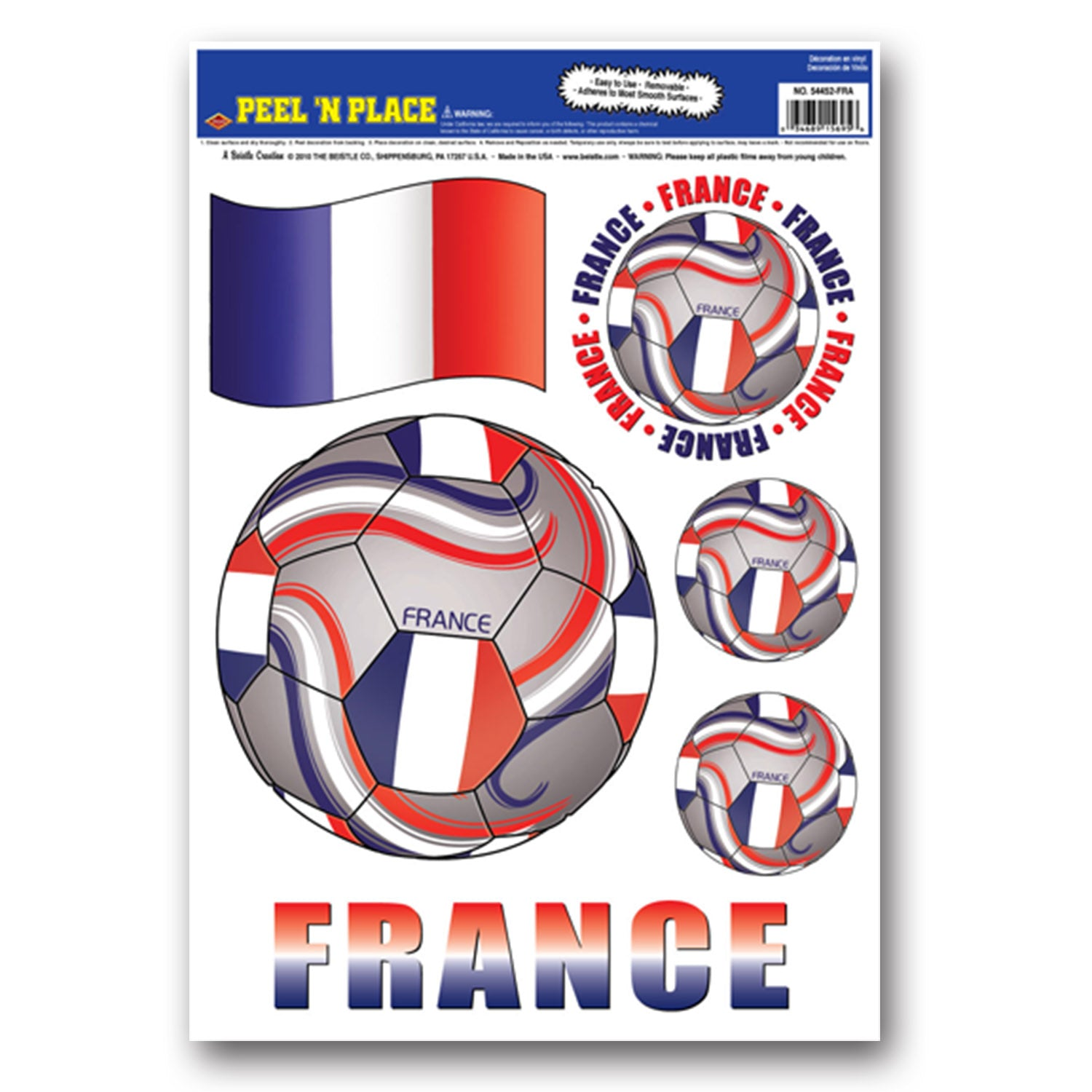 Peel 'N Place - France (6/Sheet) by Beistle - Soccer Theme Decorations