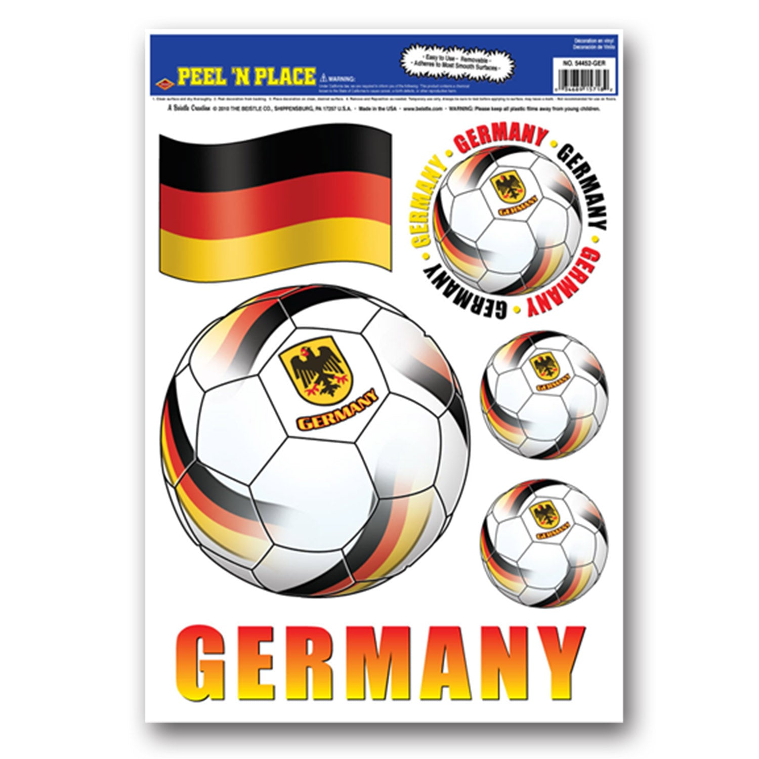 Peel 'N Place - Germany (6/Sheet) by Beistle - Soccer Theme Decorations