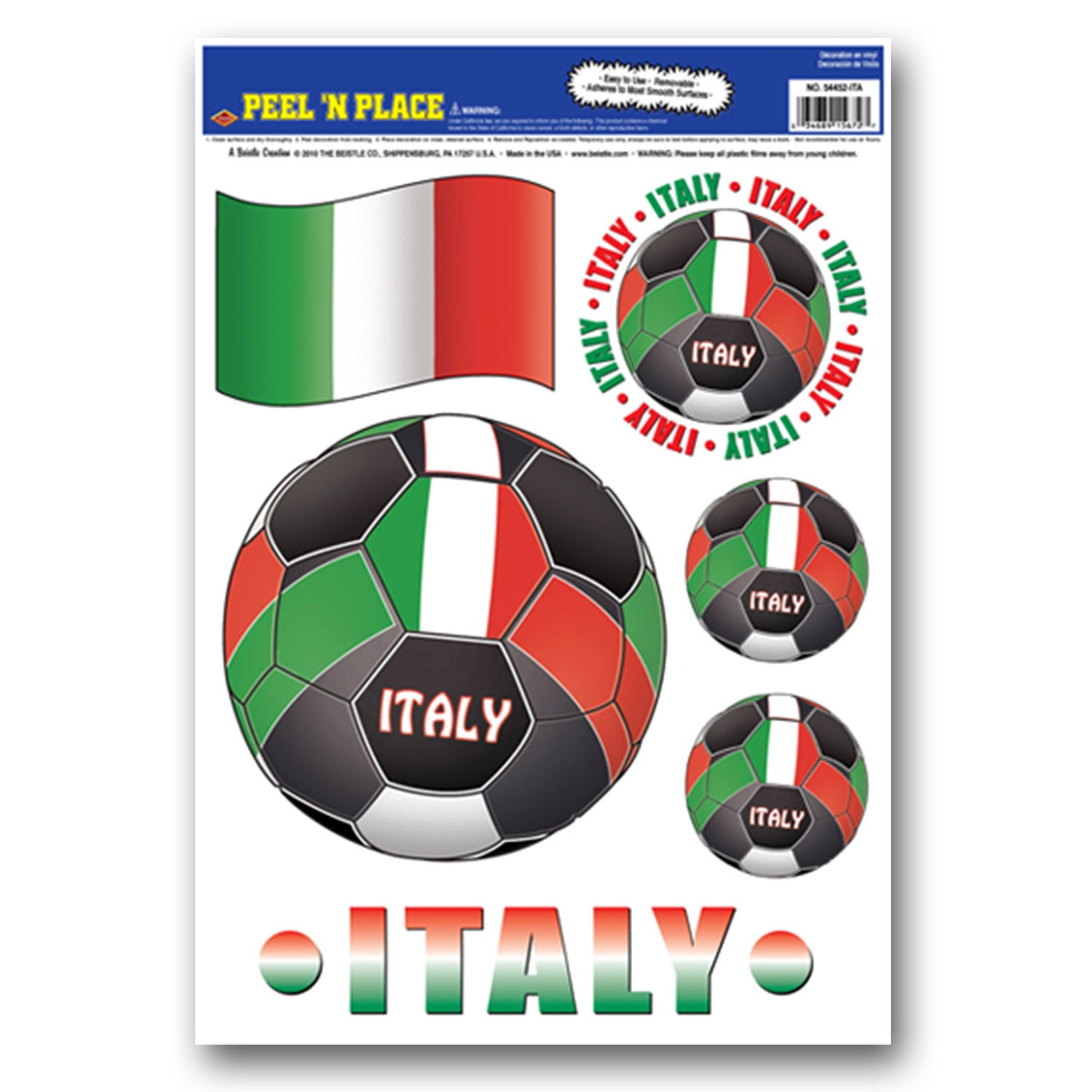 Peel 'N Place - Italy (6/Sheet) by Beistle - Soccer Theme Decorations