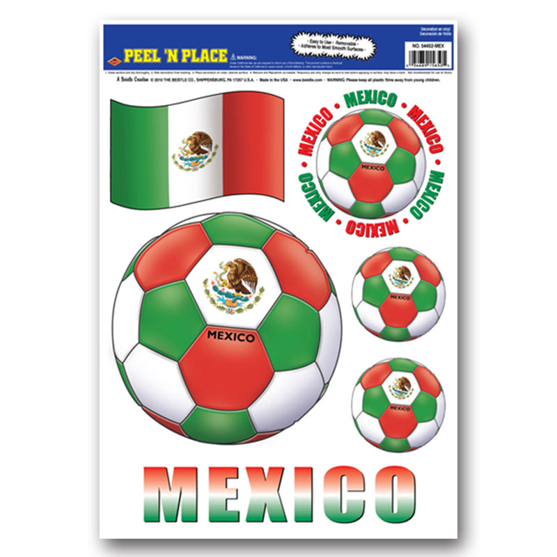 Peel 'N Place - Mexico (6/Sheet) by Beistle - Soccer Theme Decorations